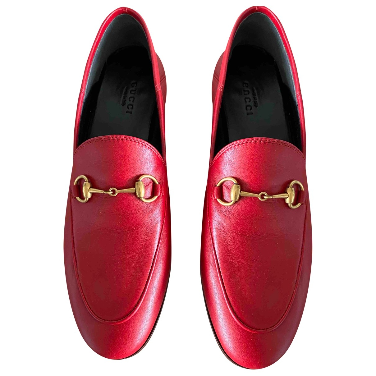 Gucci Brixton Red Leather Flats for Women 38.5 EU