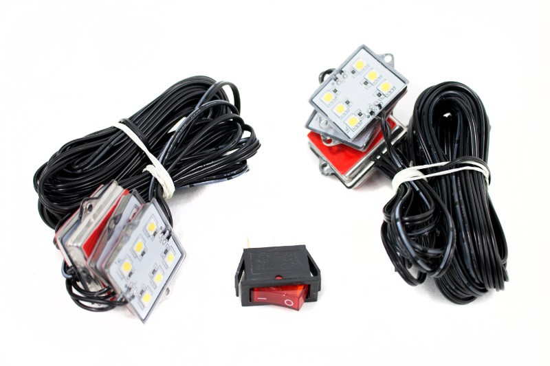 Race Sport Lighting RSBRW White 8-Pod LED Bed Rail Super-Bright Lighting System Toggle Switch