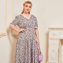 Plus Ditsy Floral Print Lace Trim Ruffle Hem A-line Dress