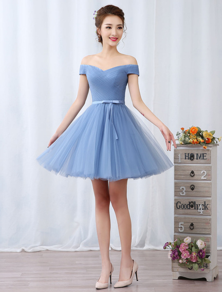 Milanoo Short Prom Dresses Off The Shoulder Graduation Dress Baby Blue Tulle Pleated Sash Cute Homecoming Dresses