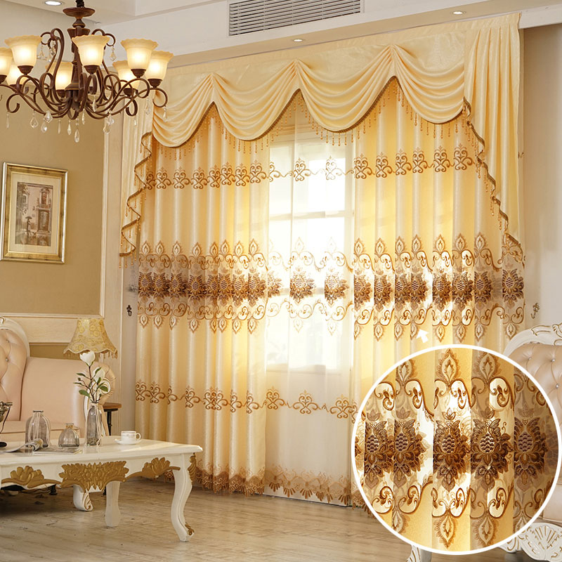 European Chenille Embroidery Custom Blackout Grommet Curtains Ultraviolet-Proof Heat Insulation Water-proof and Windproof Effect No Pilling No Fading