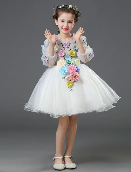 Milanoo Chiffon Flower Girl Dress White Princess Ball Gown Flower Beading 3/4 Length Sleeve Toddler's Pageant Dress