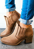 Solid Round Toe Heeled Boots