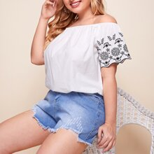 Plus Off Shoulder Tribal Embroidery Top