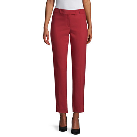 Liz Claiborne Womens Mid Rise Regular Fit Ankle Pant, 4 , Red