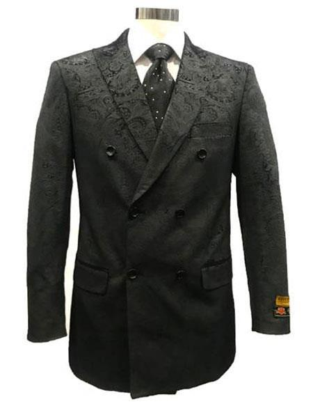 Double Breasted Floral Texture Tuxedo Sport Coat Jacket