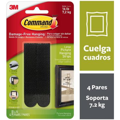 Command™ Large Picture Hanging Strips, 17206BLK-C, Black, Holds 16 lb, 4 Large Pairs