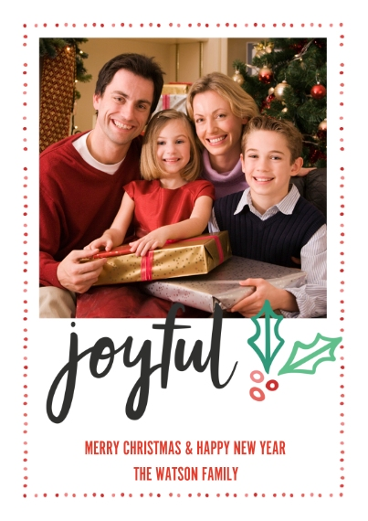 Fun & Festive 5x7 Cards, Premium Cardstock 120lb with Elegant Corners, Card & Stationery -Joyful Holly