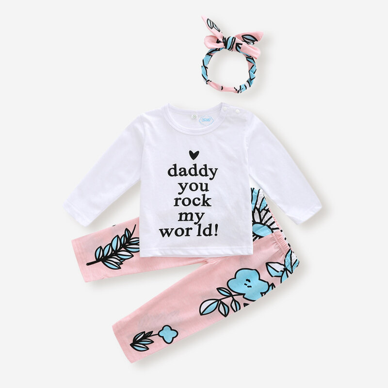 3PCs Baby Letter&Floral Print Casual Clothing Set For 6-24M
