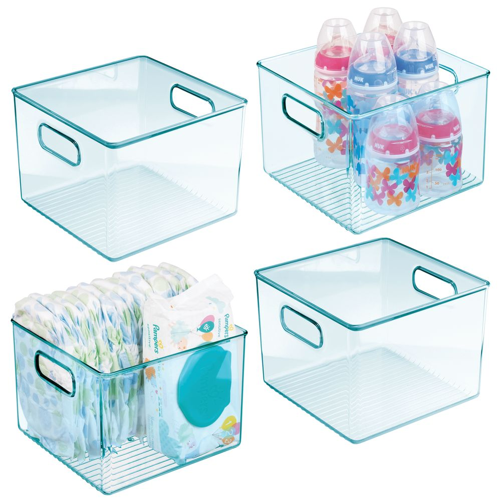 Plastic Kids/Baby Storage Organizer Bin - Tall/ Square in Sea Blue, 8