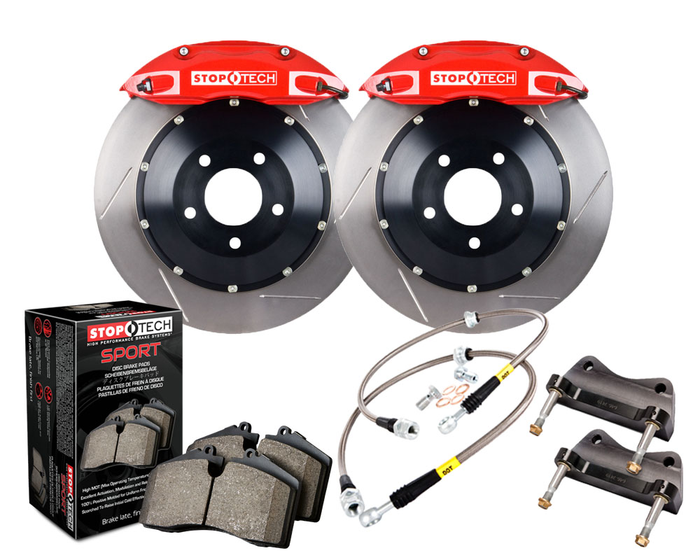 StopTech 83.799.0046.71 Big Brake Kit; Black Caliper; Drilled Two-Piece Rotor; Front Porsche Rear