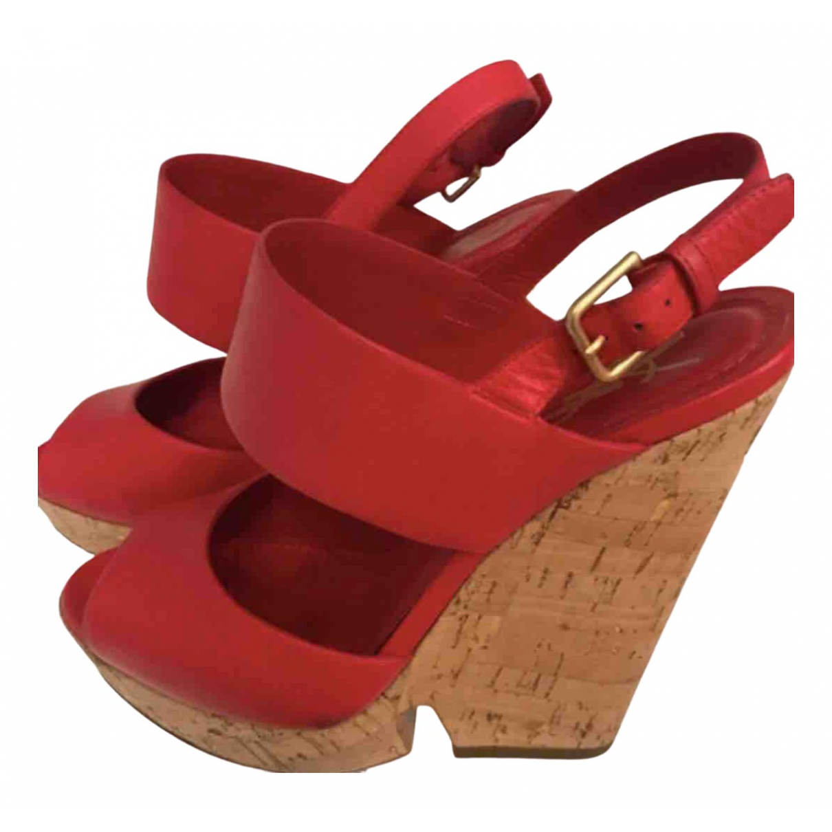 Yves Saint Laurent \N Red Leather Sandals for Women 36 EU