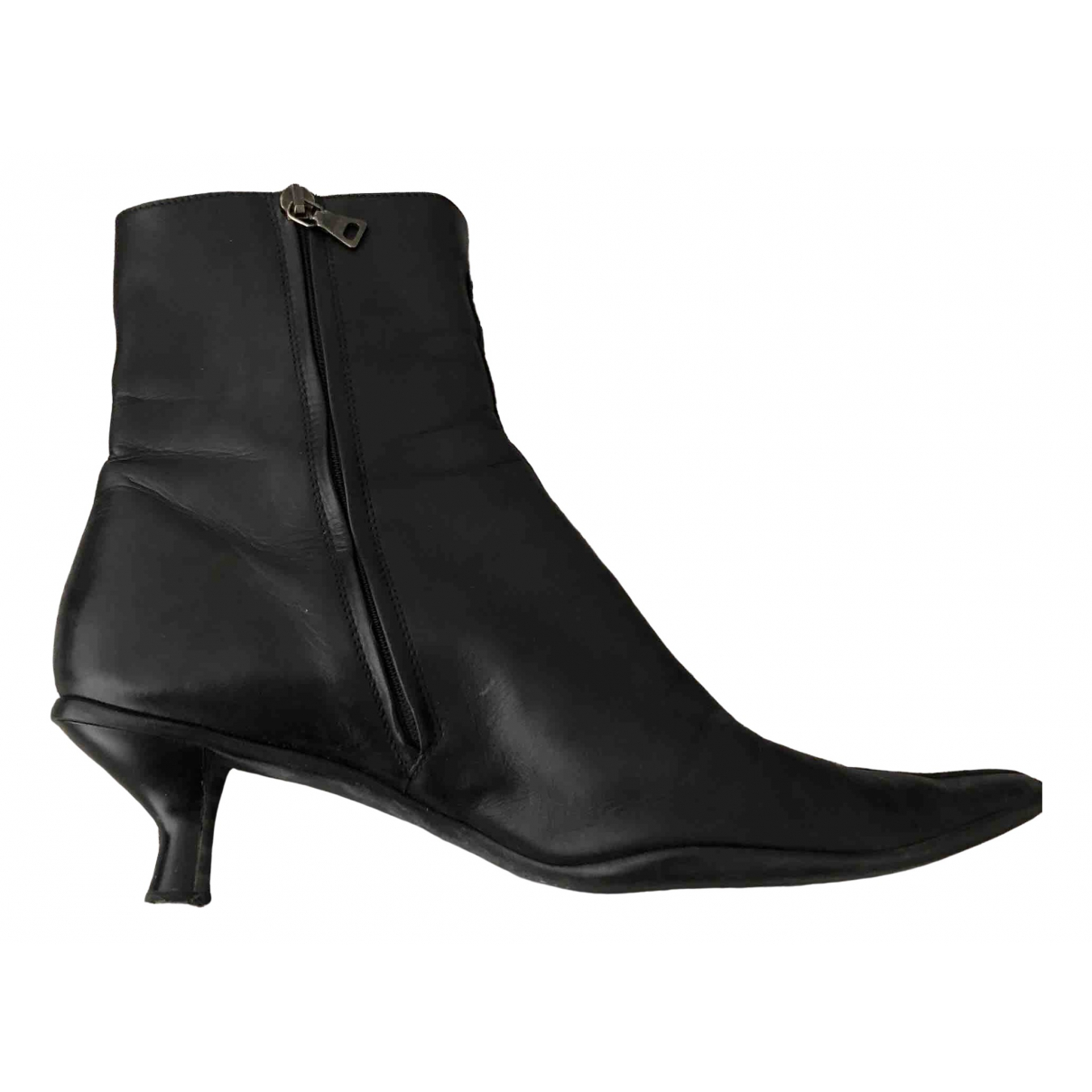 Prada \N Black Leather Ankle boots for Women 39 EU