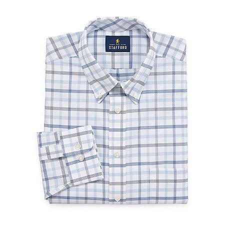 Stafford Mens Wrinkle Free Oxford Button Down Collar Regular Fit Dress Shirt, 15 32-33, Blue