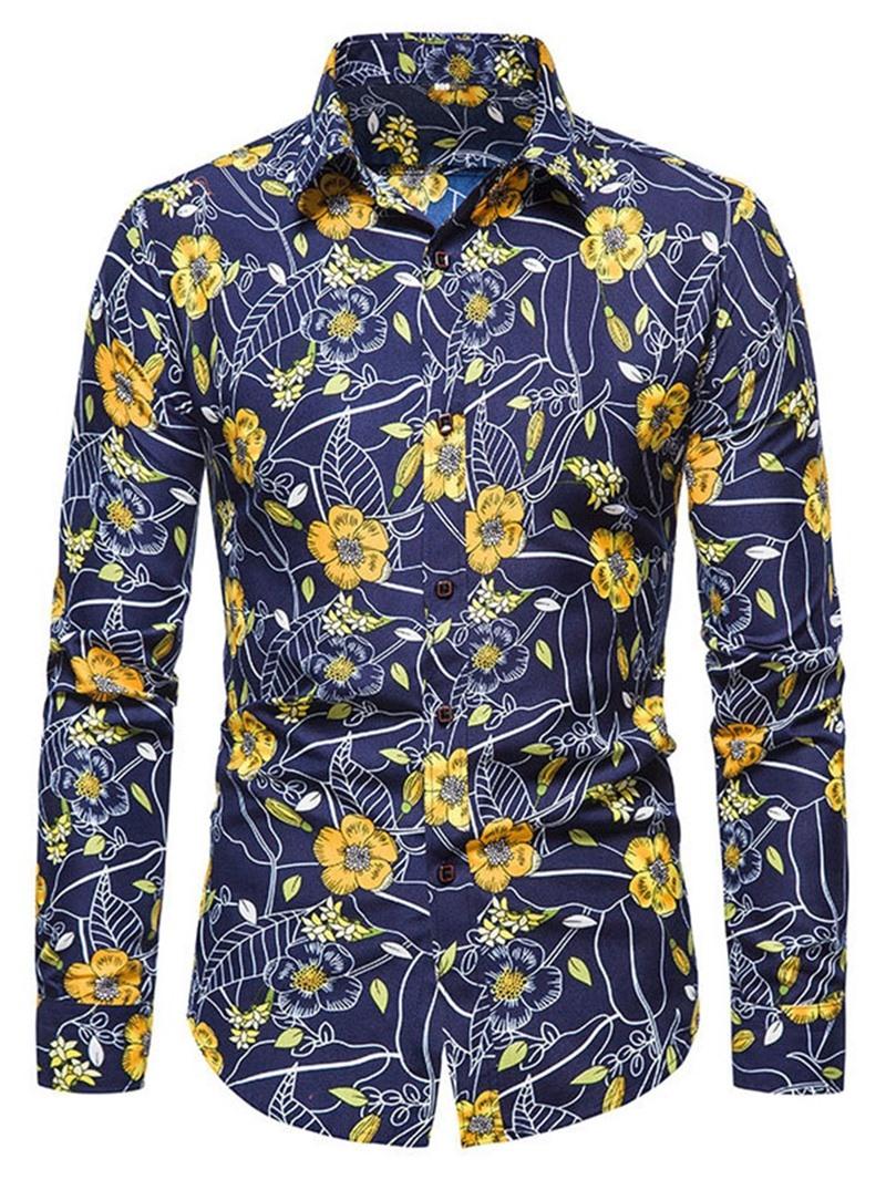Ericdress Floral Casual Lapel Slim Fall Shirt