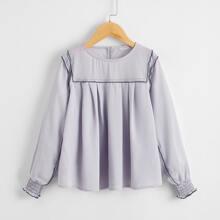 Girls Contrast Trim Fold Pleated Detail Shirred Cuff Top