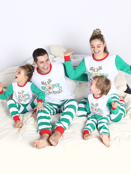 Milanoo Matching Pajamas Family Christmas Kids Green Striped Pants And Top 2 Piece Set For Children