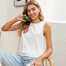 Rib-knit Solid Tank Top