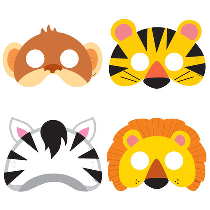 Animal Jungle Party Masks, 8ct For Birthday Party