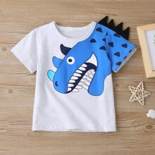 Toddler Boys Cartoon Graphic Patched Tee