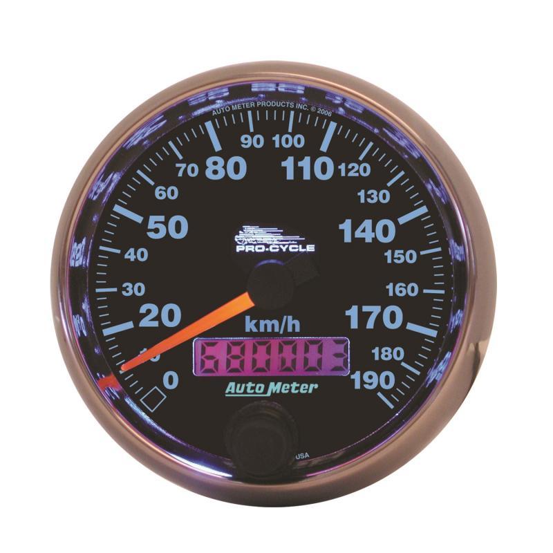 AutoMeter GAUGE; SPEEDO; 2 5/8in.; 190 KM/H; ELEC; BLACK; PRO-CYCLE
