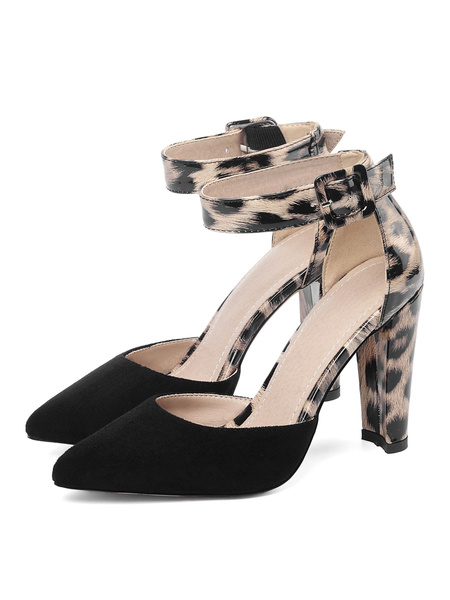 Milanoo D\'orsay Two Part High Heels Pointed Toe Leopard Print Slim Block Heel Pumps
