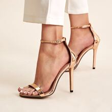 Metallic Ankle Strap Stiletto Heels