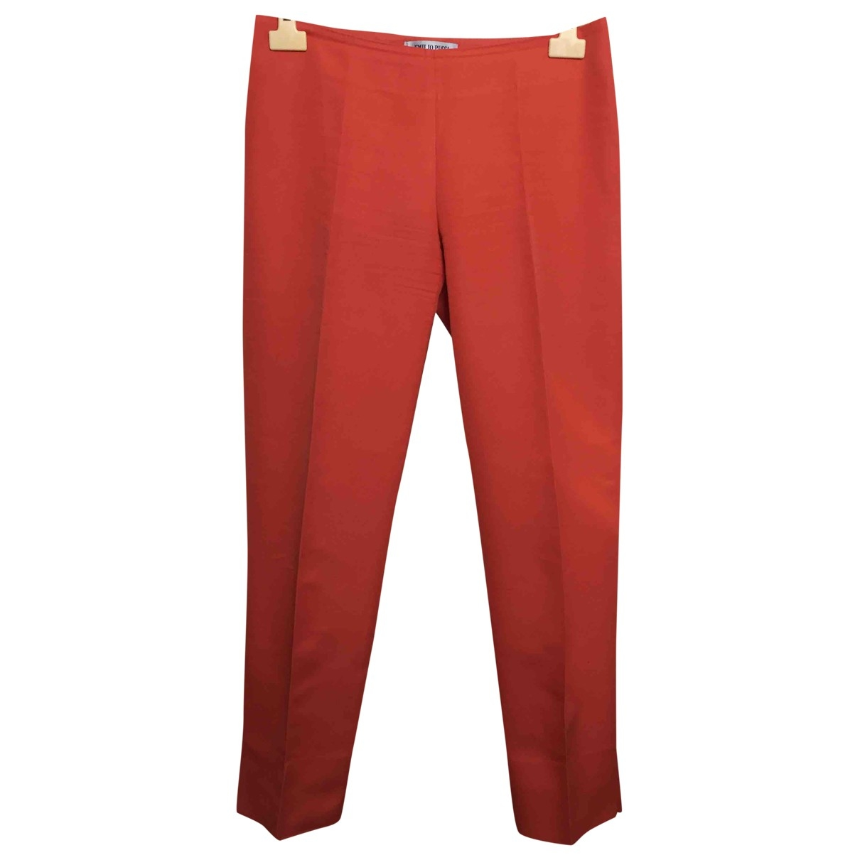 Emilio Pucci \N Red Cotton Trousers for Women 42 IT