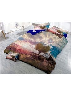 Heart Shaped Tree and Nature Scenery Wear-resistant Breathable High Quality 60s Cotton 4-Piece 3D Bedding Sets