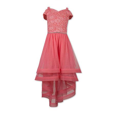 Speechless Little & Big Girls Embellished Short Sleeve Cold Shoulder Sleeve Party Dress, 8 , Red