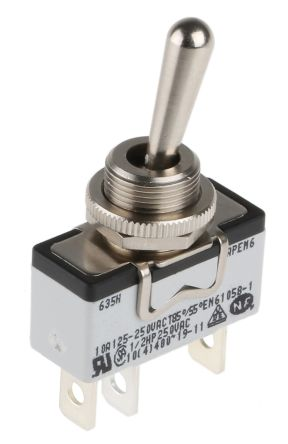 APEM SPST Toggle Switch, On-(On), Panel Mount
