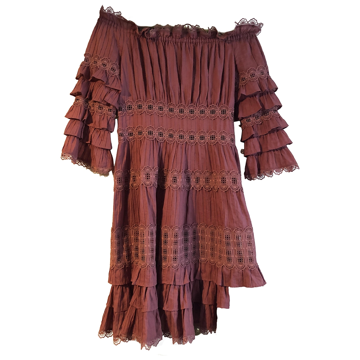 Zimmermann \N Burgundy Cotton dress for Women 0 0-5