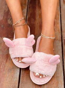Antlers Decor Fluffy Slippers