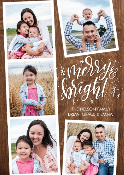 Christmas Photo Cards 5x7 Cards, Standard Cardstock 85lb, Card & Stationery -Christmas Script Merry Bright by Tumbalina