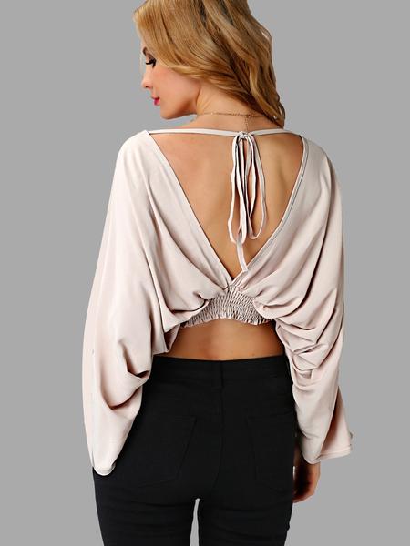 Yoins Long sleeves Self-tie Backless Crop Top
