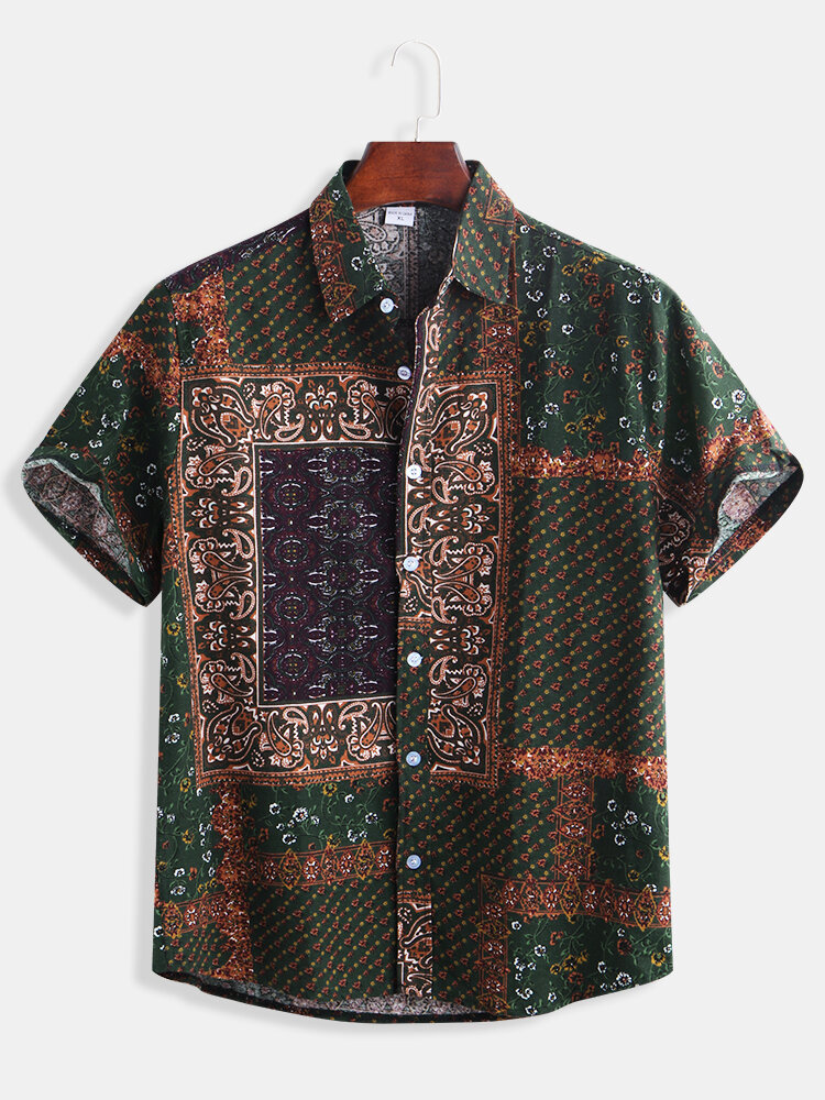 Mens Cotton Ethnic Style Patchwork Printed Casual Loose Short Sleeve Shirt