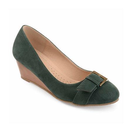 Journee Collection Womens Graysn Pumps Wedge Heel, 5 1/2 Medium, Green