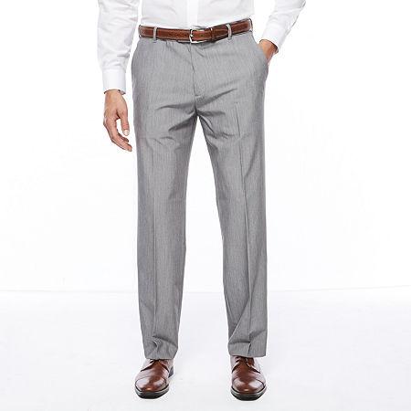 Van Heusen Stretch Flex Straight Fit No-Iron Dress Pants, 42 30, Silver