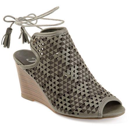 Journee Collection Womens Tandra Pumps Wedge Heel, 8 1/2 Medium, Gray