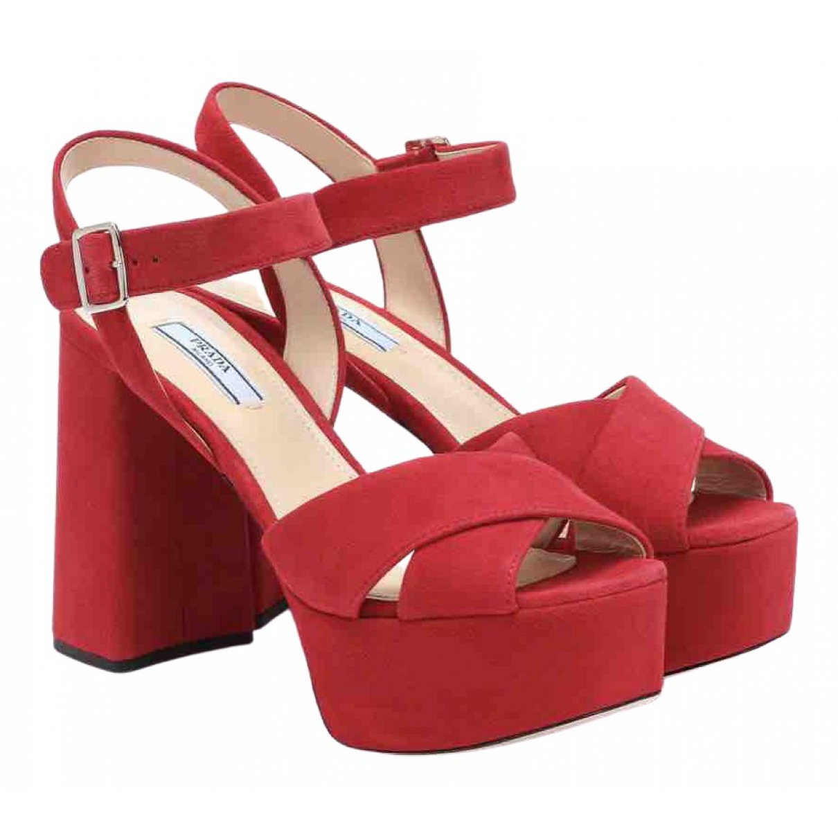 Prada \N Red Suede Sandals for Women 38 EU