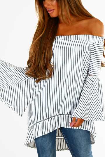 Yoins White Hollow Design Stripe Pattern Off The Shoulder Long Sleeves Blouses