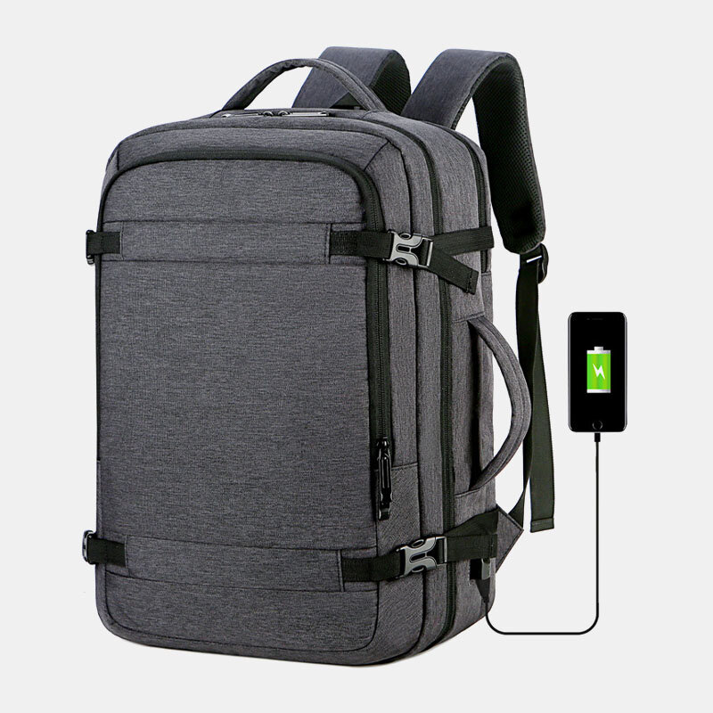 Men Polyester 15.6 Inch USB Charging Anti theft Business Laptop Bag Backpack