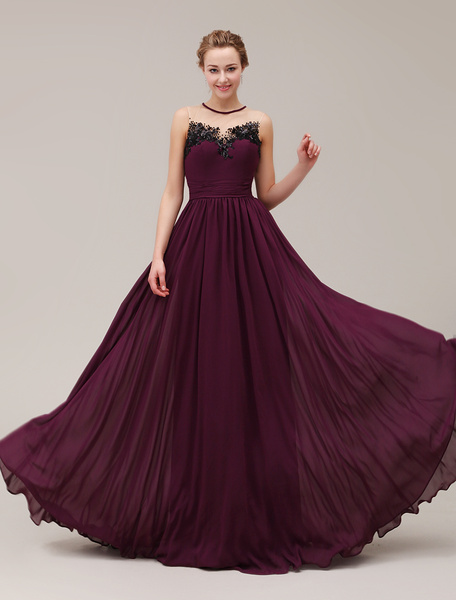 Milanoo Semi-Sheer Jewel Neck Floor-Length Sequin Pleated Applique Evening Dress with Beading  wedding guest dress