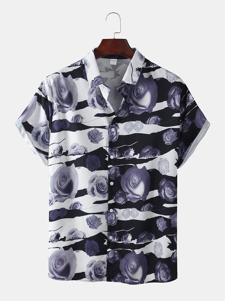 Mens Fashion Rose Pattern Printed Loose Short Sleeve Shirts