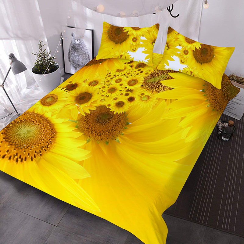 3D Yellow Sunflower Printed Polyester 3-Piece Comforter Sets