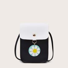 Floral Decor Two Tone Crossbody Bag