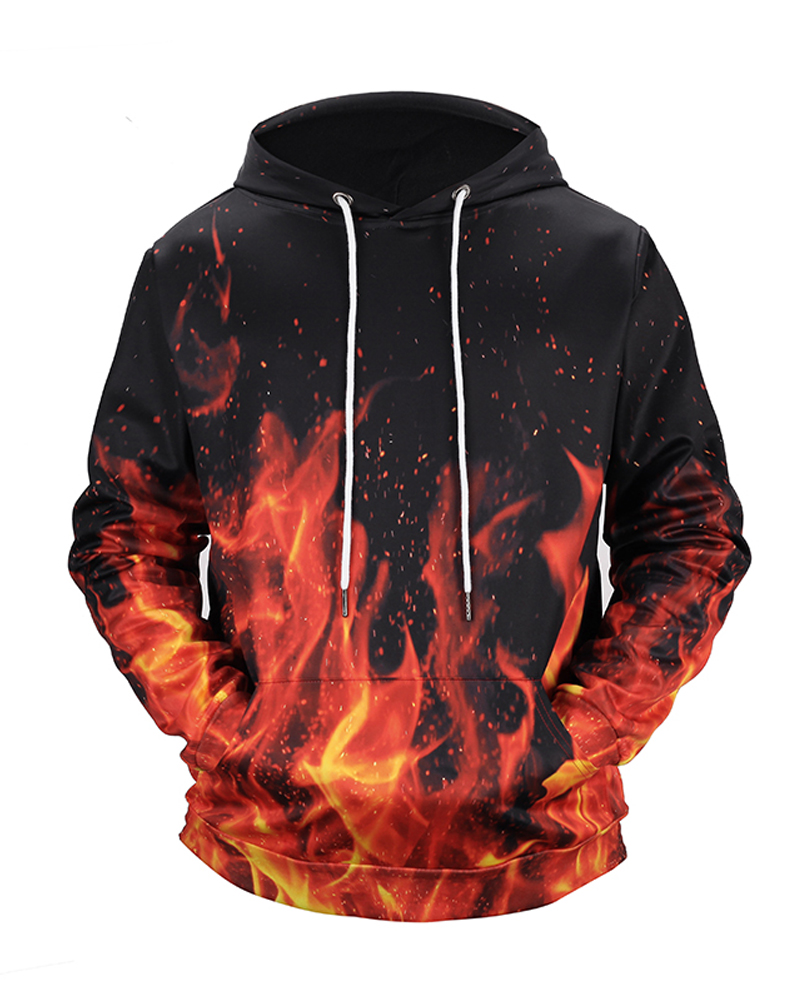 Pullover Loose Model Casual Style Kangaroo Pocket Workout 3D Painted Hoodie