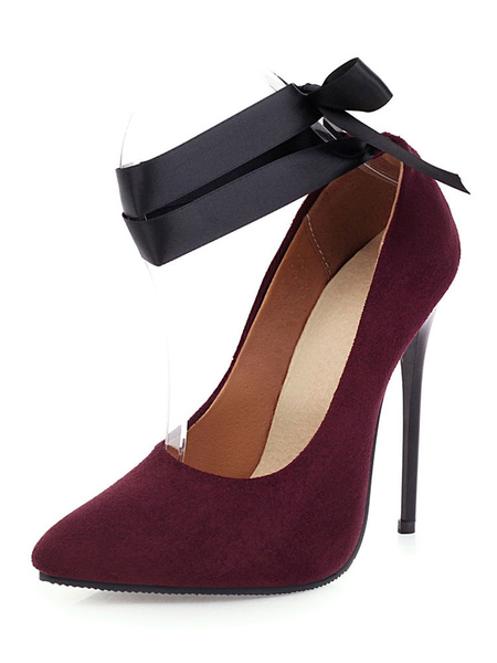 Milanoo Women's Sky High Heels Ankle Strap Pointed Toe Pumps Stiletto Heel Plus Size Shoes