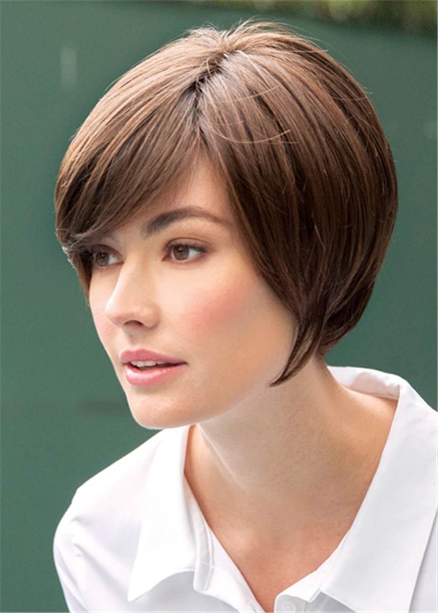 Human Hair Natural Straight Capless 12 Inches 120% Wigs Heat Resistant Natural Looking Daily Party Wigs Cosplay Wigs with Natural Bangs with Free Wig