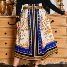 Plus Baroque Print O-ring Front Skirt